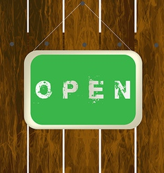 Open sign hanging on a wooden fence vector image