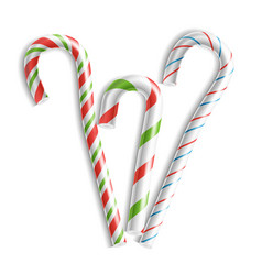 3d xmas candy cane set isolated on white vector image vector image