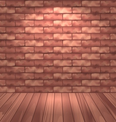 Brown brick wall with wooden floor empty room vector