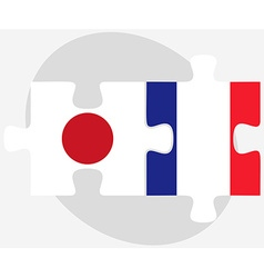 Japan and france flags in puzzle vector