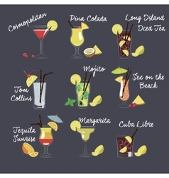 Different drinks and vector