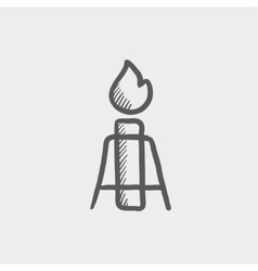 Candle with holder sketch icon vector