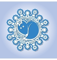 Snowflake with image of a fox vector