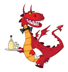 Dragon waiter vector