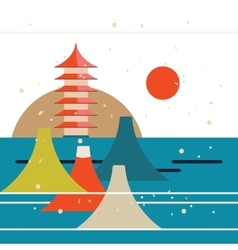 Japanese landscape travel poster with beautiful vector