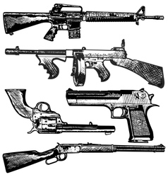 grunge gun collection vector image
