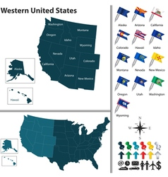 Map of Western United States vector image