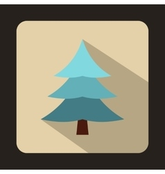 Fir tree covered with snow icon flat style vector