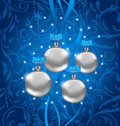 Blue holiday background with Christmas balls vector image
