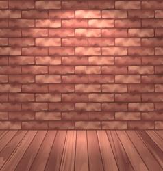 Brown brick wall with wooden floor empty room vector image