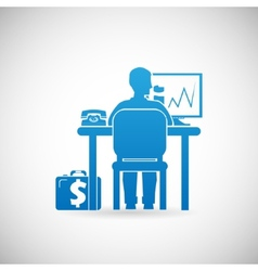 Business Workspace Symbol Businessman at Work Icon vector image
