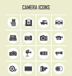 Camera and video icons set eps 10 vector