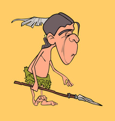 cartoon funny man aboriginal indian with a spear vector image