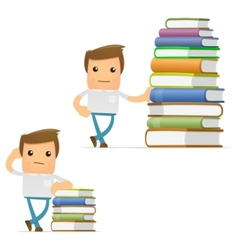 cartoon man with books vector image vector image
