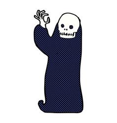 Comic cartoon waving halloween ghoul vector