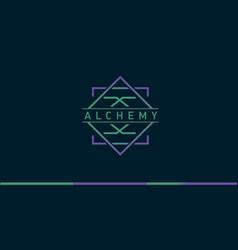 Development of a linear gradient logo on alchemy vector