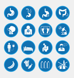 esophageal cancer and stomach pain icons blue vector image vector image