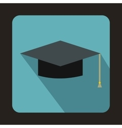 Graduation cap icon in flat style vector image vector image