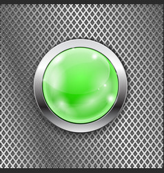 green round glass button with metal frame on steel vector image vector image