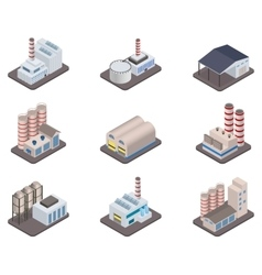 Isometric factory plants and factories vector