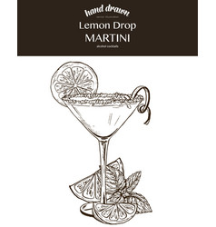 Lemon drop martini composition vector