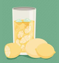 Lemonade with fresh cut lemons flat vector