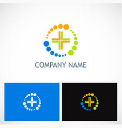 medic cross colored technology logo vector image vector image