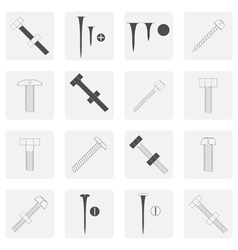 monochrome icon set with screws nuts and bolts vector image