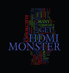 Monster hdmi text background word cloud concept vector