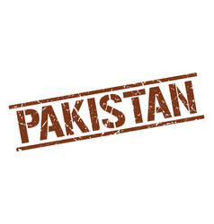 Pakistan brown square stamp vector