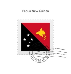 Papua new guinea flag postage stamp vector