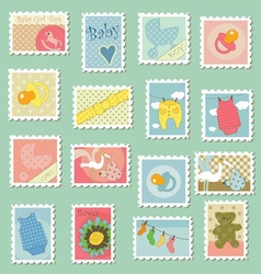 Postage stamps with baby theme vector