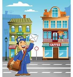 Postman under plane vector image