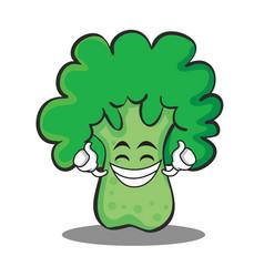 proud broccoli chracter cartoon style vector image