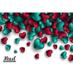 Realistic 3d colorful red and turquoise romantic vector