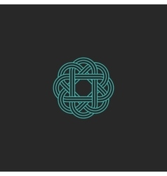 Sacred geometric logo turquoise intersection line vector