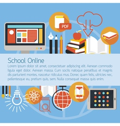 School online e-learning objects layout background vector