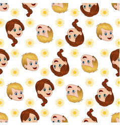 Seamless pattern with happy boy and girl sun vector