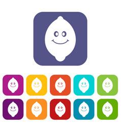 Smiling lemon fruit icons set flat vector