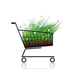 Spring grass in shopping cart for your design vector image