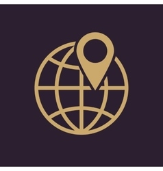 The pin on globe icon travel and map navigation vector