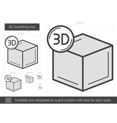 Three d modelling line icon vector