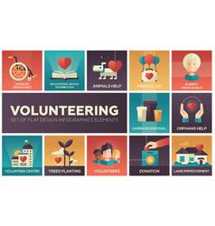 Volunteering - set of flat design infographics vector