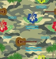 Waves hibiscus guitars and palm trees pattern on vector image