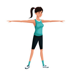 Woman sports training exercise vector