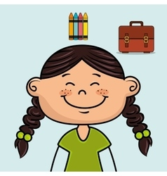 Girl student colors school baggage vector
