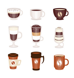 Coffee hot and cold cocktails menu assortment of vector