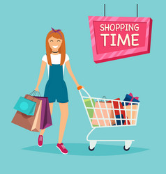 Girl with shopping bags and cart for shopping vector
