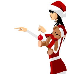 Woman in santa clothes vector