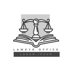 Lawyer office colorless logo label isolated on vector